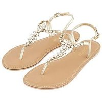 Accessorize Rio Embellished Sandal, Gold, Size 41, Women