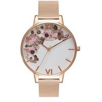 Olivia Burton Olivia Burton Enchanted Garden White and Rose Gold Detail Floral Big Dial Rose Gold Stainless Steel Mesh Strap Lad
