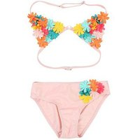 Billieblush Girls Flower Applique Bikini - Pink, Pink, Size Age: 5 Years, Women