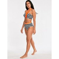 Figleaves Figleaves Juno Luxe Underwired Bandeau Halter Bikini Top, Black/White, Size 30G, Women