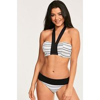 Figleaves Amalfi Underwired Bandeau Halter Bikini Top - White Stripe, Black/White, Size 36C, Women
