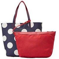Joules Navy Spot Reversible Shoulder Bag, Navy, Women