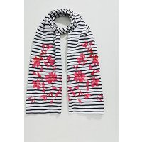 Joules Cream Floral Embroidered Striped Cotton Scarf - Blue/White, Cream Floral, Women