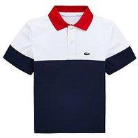 Lacoste Sports Boys Short Sleeve Colourblock Polo, White/Navy, Size 12 Years