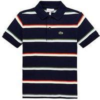 Lacoste Boys Short Sleeve Stripe Pique Polo Shirt - Navy/Multi, Navy/Multi, Size 5 Years
