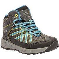 Regatta Samaris Mid Junior Walking Boots - Grey/Blue, Grey/Blue, Size 10