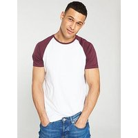 V by Very Short Sleeved Raglan T-Shirt - White/Burgundy, White/Burgundy, Size S, Men