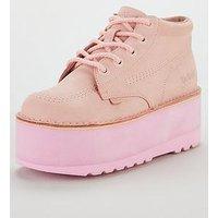 Kickers Kickers Kick Higher Stack Platform Ankle Boot, Pastel Pink, Size 4, Women