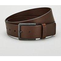 HUGO Smooth Leather Belt, Dark Brown, Size 105, Men