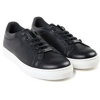 BOSS Boys Leather Lace Up Trainer, Black, Size 3.5 Older