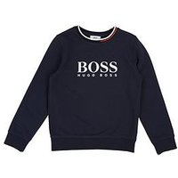 BOSS Boys Logo Crew Neck Sweat Top - Navy, Navy, Size 5 Years