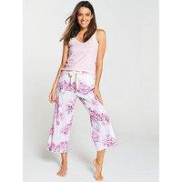 Joules Felicity Culotte Pyjama Bottoms - Blue Stripe Floral, Multi, Size 14, Women