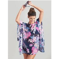 Joules Rosanna Beach Cover Up - Navy Floral, Navy, Size 8, Women