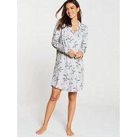 Joules Verity Printed Nightshirt - Grey Floral, Grey Floral, Size 10, Women