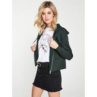V by Very Cropped Raw Edge Zip Through Hoody, Bottle Green, Size 12, Women