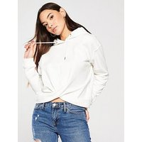 V by Very Knotted Crop Hoody, Off White, Size 12, Women