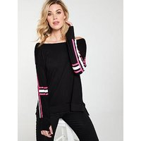 V by Very Striped Neon Top - Black, Black, Size 20, Women