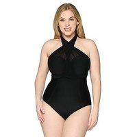Curvy Kate Wrapsody Bandeau Swimsuit, Black, Size 38Dd, Women