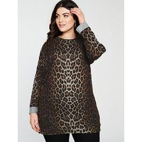 V by Very Curve Longline Printed Sweat Top - Leopard Print, Animal, Size 16, Women