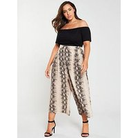 Ax Paris Curve 2-In-1 Wide Leg Printed Jumpsuit - Snake