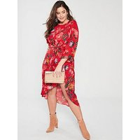 Ax Paris Curve Printed Sleeve Dress - Red