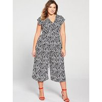 Ax Paris Curve Zebra Print Jumpsuit - Black/White