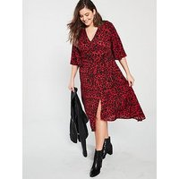 Ax Paris Curve Frill Sleeve Animal Print Midi Dress - Red