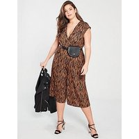 AX PARIS CURVE Zebra Wrap Jumpsuit, Brown, Size 24, Women
