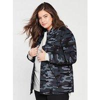 V by Very Curve Camouflage Jacket - Camo, Camo, Size 22, Women