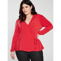 V by Very Curve Polka Dot Printed Wrap Blouse - Red, Red Spot, Size 26, Women