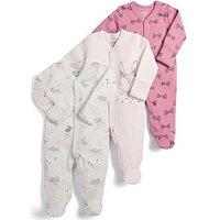 Mamas & Papas Baby Girls 3 Pack Bunny Sleepsuits - Pink, Pink, Size Newborn