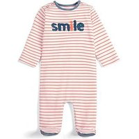Mamas & Papas Baby Girls Smile Sleepsuit - Stripe, Off White, Size 0-3 Months