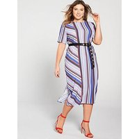Lost Ink Plus Column Stripe Midi Dress, Multi, Size 18, Women