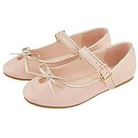 Monsoon Girls Esme Bow Ballerina Shoe, Pale Pink, Size 7 Younger