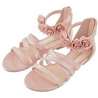 Monsoon Girls Esther Corsage Strap Sandal, Pale Pink, Size 9 Younger