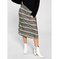V by Very Plisse Elasticated Waist Midi Skirt, Snake Print, Size 14, Women