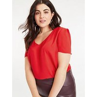 Oasis Curve V-Neck Top - Mid Red, Mid Red, Size 18, Women