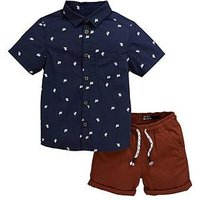 Mini V by Very Boys Cactus Shirt & Short Set - Multi, Multi, Size Age: 9-12 Months