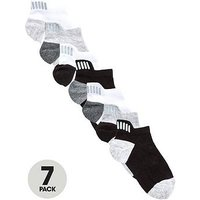 Boys, V by Very 7 Pack Trainer Liner Socks With Reflective Strip Detail - Multi, Multi, Size 0-2.5