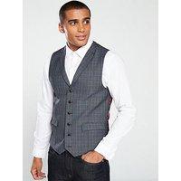 Skopes Warley Check Waistcoat - Grey/Blue, Grey/Blue, Size 52, Men