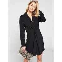 V by Very Collar And Twist Front Dress - Black, Black, Size 16, Women