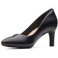 Clarks Calla Rose Wide Fit Heeled Shoes - Black, Black Leather, Size 6, Women
