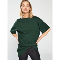 V by Very High Neck Long Line Tee, Forest Green, Size 20, Women