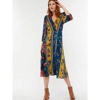 Monsoon Peggy Patch Print Midi Dress, Navy, Size 10, Women