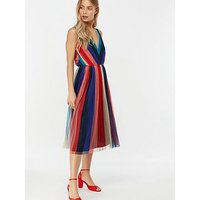 Monsoon Simone Stripe Pleated Mesh Dress - Navy