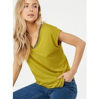 Monsoon Tina Embellished Linen Top - Green, Green, Size M, Women