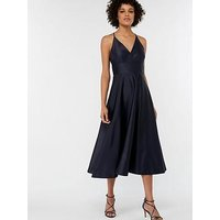 Monsoon Abbey Satin Bow Midi Dress, Navy, Size 14, Women