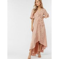 Monsoon Jacquette Satin Jacquard Dress - Nude