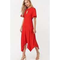 Monsoon Beatrice Bee Jacquard Hanky Hem Dress - Red