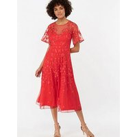 Monsoon Racquelle Embroidered Mesh Midi Dress - Red